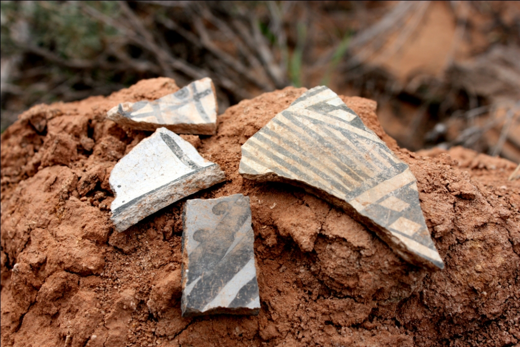 Pottery shards seen near Wolfman panel