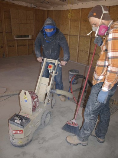 Grinding team working on the concrete floors.