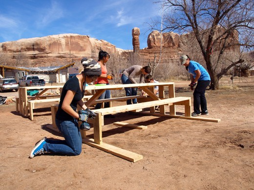 Volunteers from the University of Utah helped make benches.