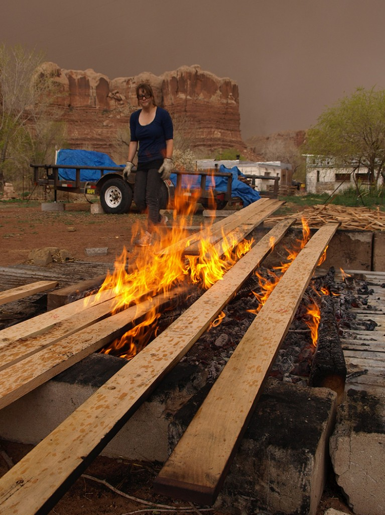Charring the wood is a process called Yakisugi. The result is a product that is weatherproof, insect proof, and maintenance free.